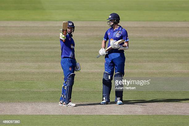 Geraint Jones of Gloustershire acknowledges his 50 during the Royal London OneDay Cup Final between Surrey and Gloustershire at Lord's Cricket Ground...