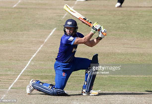 Geraint Jones of Gloustershire scores runs during the Royal London OneDay Cup Final between Surrey and Gloustershire at Lord's Cricket Ground on...