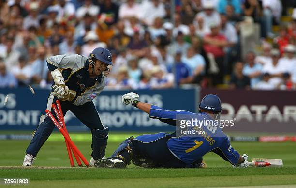 Geraint Jones of Kent runs out Chris Adams of Sussex during the Twenty20 Cup Semi Final match between Kent Spitfires and Sussex Sharks at Edgbaston...