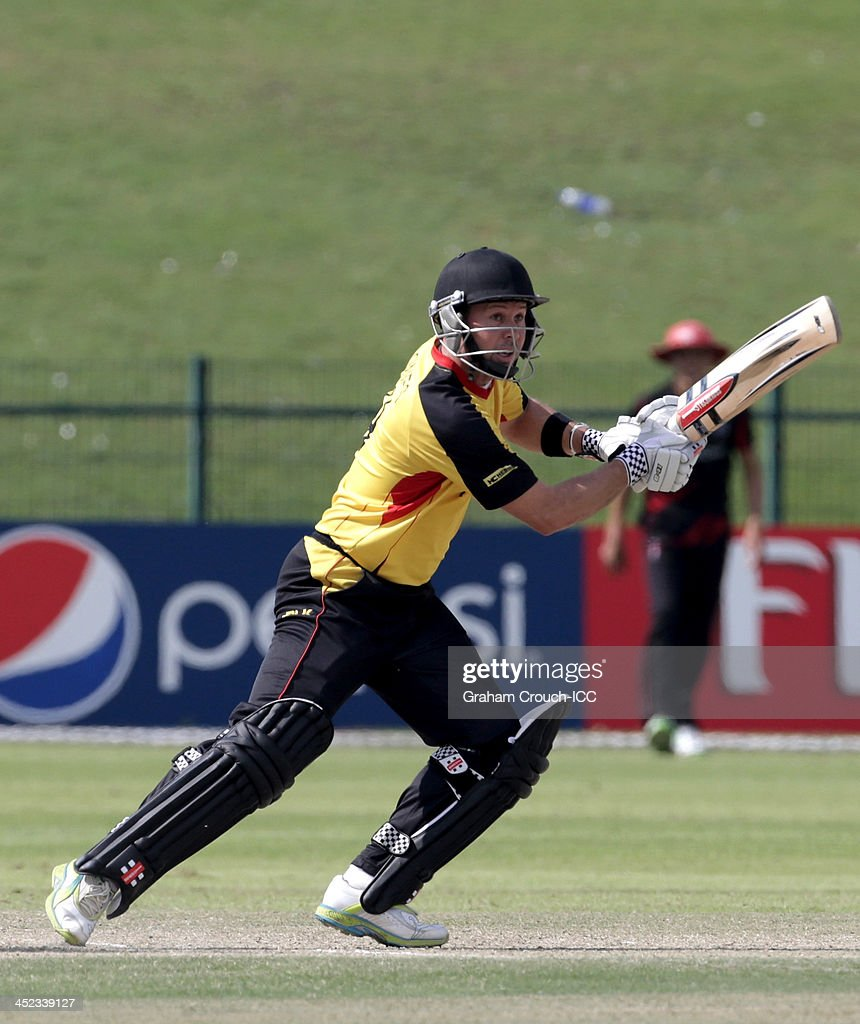 <a gi-track='captionPersonalityLinkClicked' href=/galleries/search?phrase=Geraint+Jones&family=editorial&specificpeople=171413 ng-click='$event.stopPropagation()'>Geraint Jones</a> of PNG batting during of the Papua New Guinea v Hong Kong Quarter Final match at the ICC World Twenty20 Qualifiers at the Zayed Cricket Stadium on November 28, 2013 in Abu Dhabi, United Arab Emirates.
