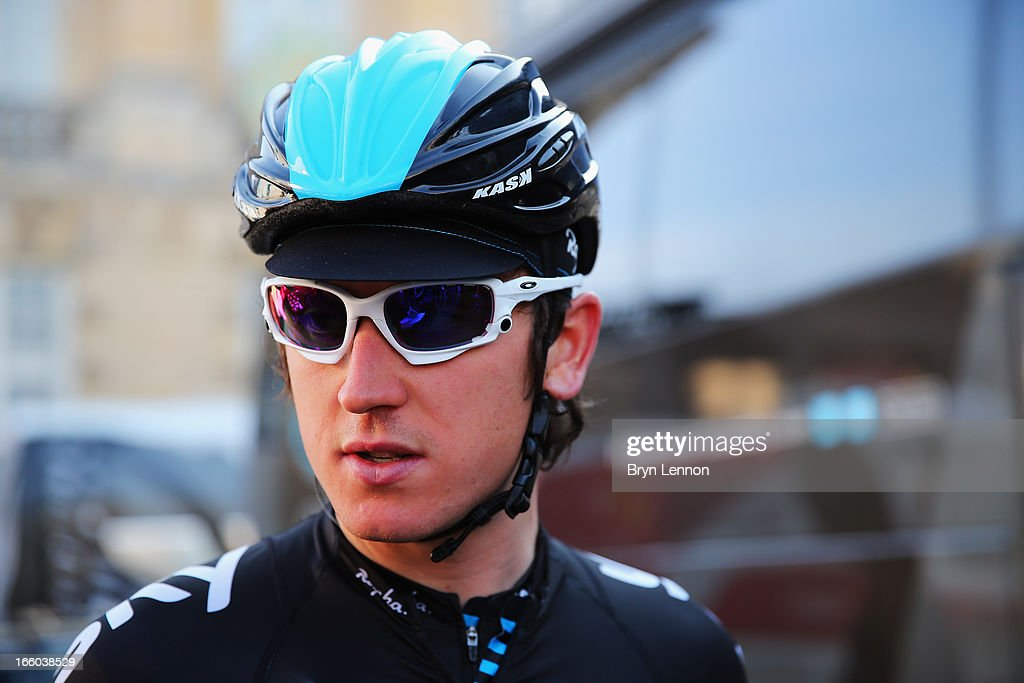 <a gi-track='captionPersonalityLinkClicked' href=/galleries/search?phrase=Geraint+Thomas&family=editorial&specificpeople=804304 ng-click='$event.stopPropagation()'>Geraint Thomas</a> of Great Britain and SKY Procycling looks on at the start of the 2013 Paris - Roubaix race from Compiegne to Roubaix on April 7, 2013 in Compiegne, France. The 111th Paris - Roubaix race is 254km long and contains 27 sections of cobblestones.