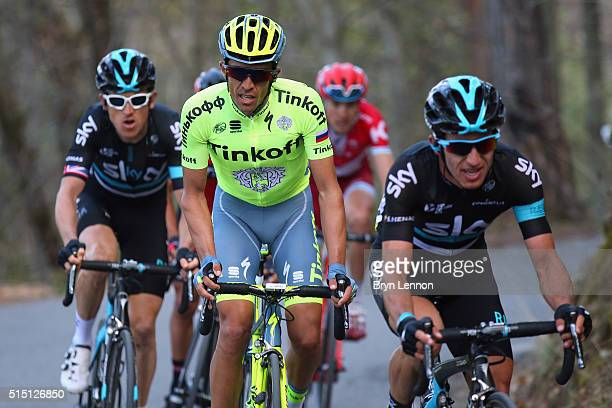 Geraint Thomas of Great Britain and Team SKY Alberto Contador of Spain and the Tinkoff team and Sergio Henao of Colombia and Team SKY in action on...