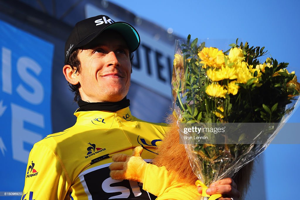<a gi-track='captionPersonalityLinkClicked' href=/galleries/search?phrase=Geraint+Thomas&family=editorial&specificpeople=804304 ng-click='$event.stopPropagation()'>Geraint Thomas</a> of Great Britain and Team SKY celebrates taking the race lead after stage 6 of the 2016 Paris-Nice, a 177km stage from Nice to La Madone d'Utelle on March 12, 2016 on La Madone d'Utelle, France.