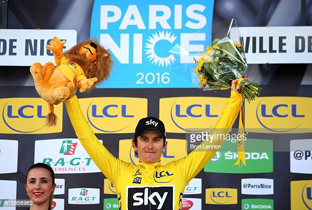 Geraint Thomas of Great Britain and Team Sky celebrates winning the race following stage 7 of the 2016 ParisNice the final stage of 134km starting...