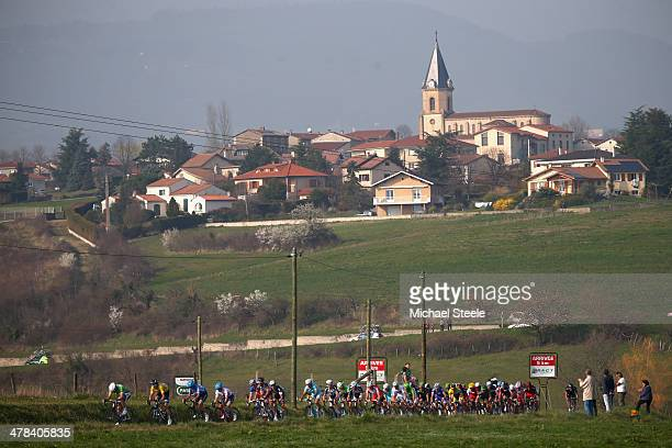Geraint Thomas of Great Britain and Team Sky during stage 5 of the ParisNice race from CrechessurSaone to RivedeGier on March 13 2014 in RivedeGier...