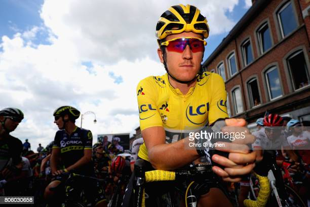 Geraint Thomas of Great Britain and Team Sky looks on during stage 3 of the 2017 Tour de France a 2125km road stage from Verviers to Longwy on July 3...