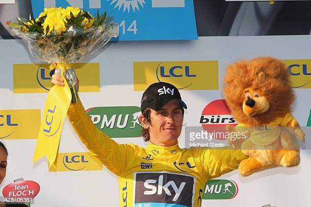 Geraint Thomas of Great Britain and Team Sky retains the yellow jersey as race leader after stage 5 of the ParisNice race from CrechessurSaone to...