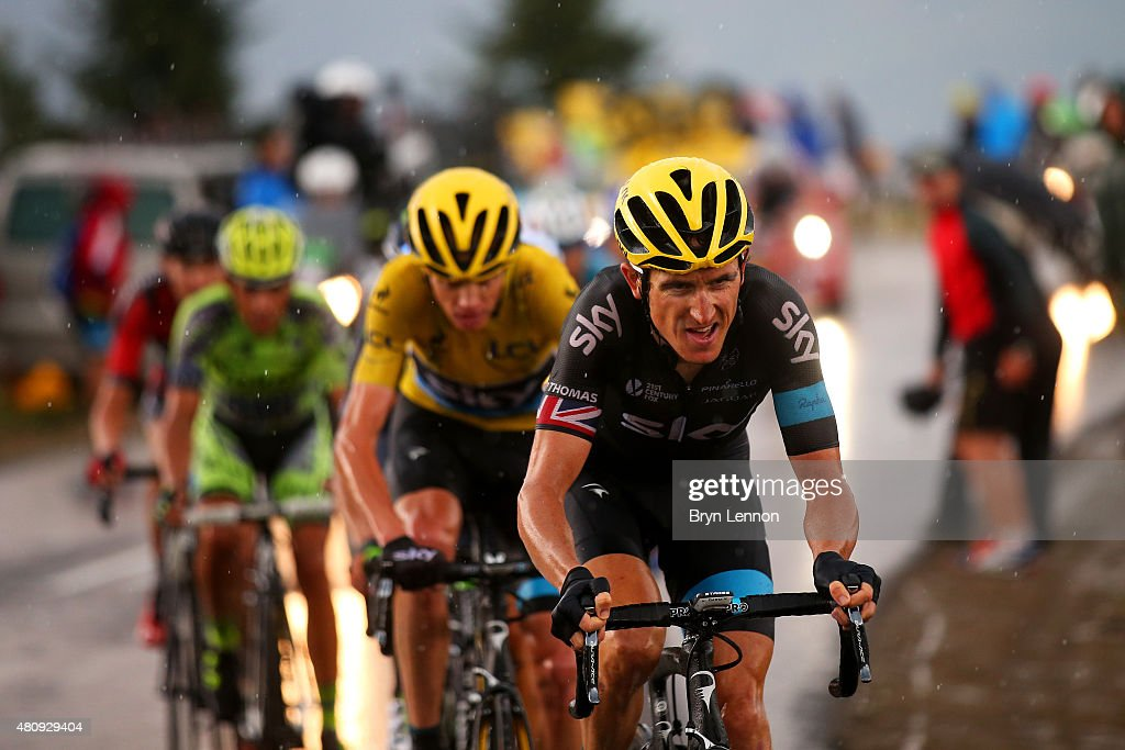 <a gi-track='captionPersonalityLinkClicked' href=/galleries/search?phrase=Geraint+Thomas&family=editorial&specificpeople=804304 ng-click='$event.stopPropagation()'>Geraint Thomas</a> of Great Britain and Team Sky rides ahead of <a gi-track='captionPersonalityLinkClicked' href=/galleries/search?phrase=Chris+Froome&family=editorial&specificpeople=5428054 ng-click='$event.stopPropagation()'>Chris Froome</a> of Great Britain and Team Sky during stage twelve of the 2015 Tour de France, a 195 km stage between Lannemezan and Plateau de Beille, on July 16, 2015 in Plateau de Beille, France.