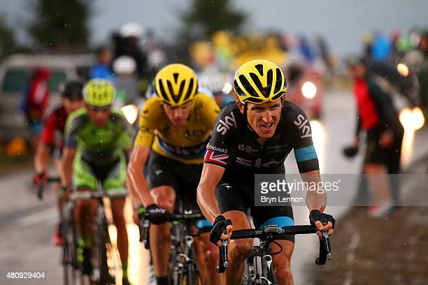 Geraint Thomas of Great Britain and Team Sky rides ahead of Chris Froome of Great Britain and Team Sky during stage twelve of the 2015 Tour de France...