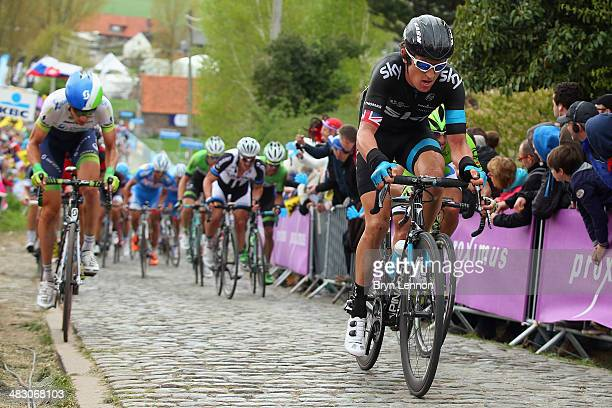 Geraint Thomas of Great Britain and Team SKY rides up the climb of the Paterberg during the 98th Tour of Flanders from Bruges to Oudenaarde on April...