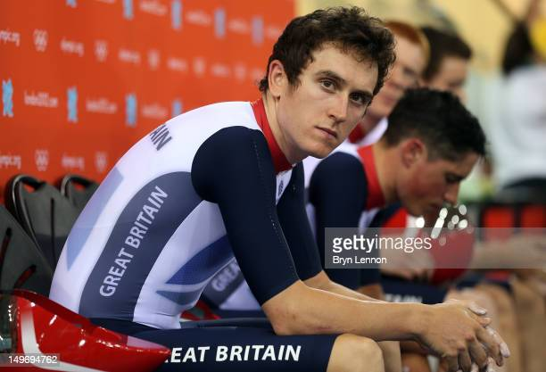 Geraint Thomas of Great Britain looks on ahead of the Men's Team Pursuit Qualifying on Day 6 of the London 2012 Olympic Games at Velodrome on August...