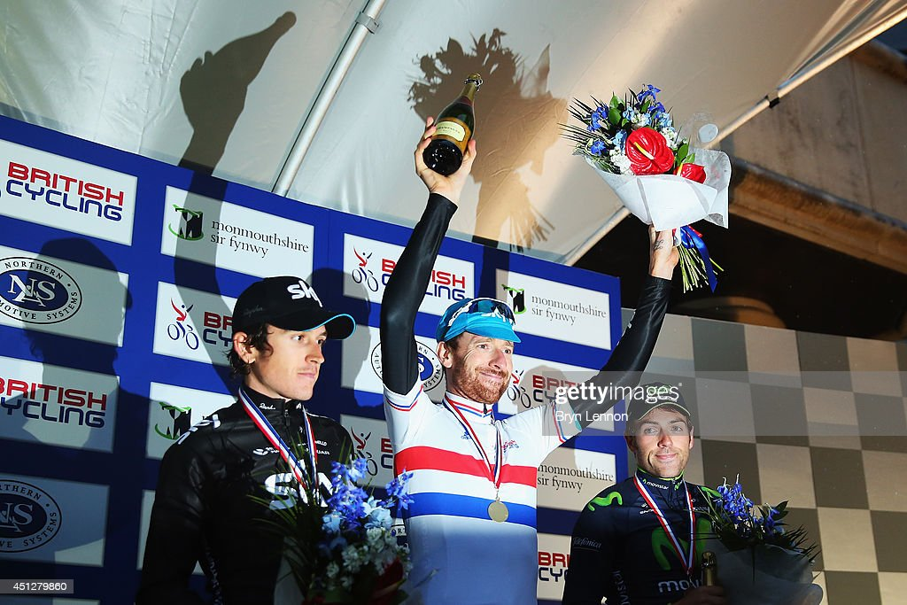 Geraint Thomas (2nd) of Team SKY, Sir Bradley Wiggins (1st) of Team Sky and Great Britain and Alex Dowsett (3rd) of Team Movisaytr stand in the podium after the Elite Men British National Time Trial Championships on June 26, 2014 at the Celtic Manor resort in Newport, Wales.
