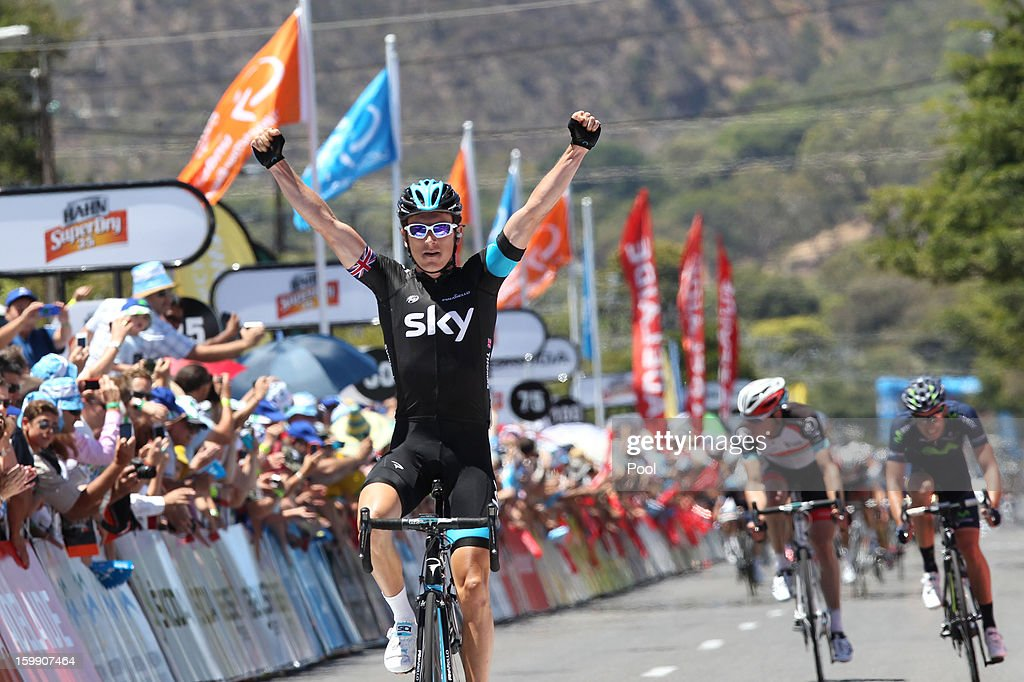 <a gi-track='captionPersonalityLinkClicked' href=/galleries/search?phrase=Geraint+Thomas&family=editorial&specificpeople=804304 ng-click='$event.stopPropagation()'>Geraint Thomas</a> of Wales and Sky Procycling celebrates as he crosses the finish line to win stage two of the 2013 Tour Down Under on January 23, 2013 in Rostrevor, near Adelaide, Australia.