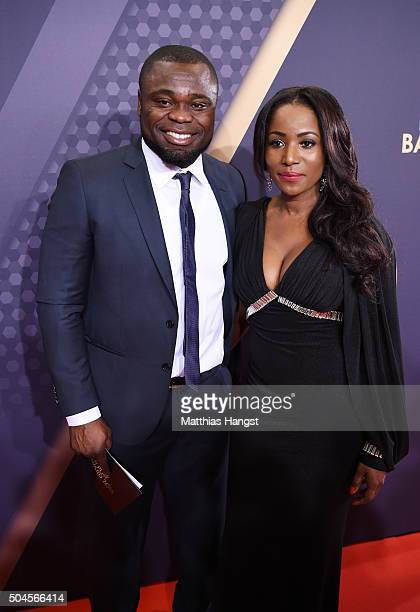 Gerald Asamoah and guest attend the FIFA Ballon d'Or Gala 2015 at the Kongresshaus on January 11 2016 in Zurich Switzerland