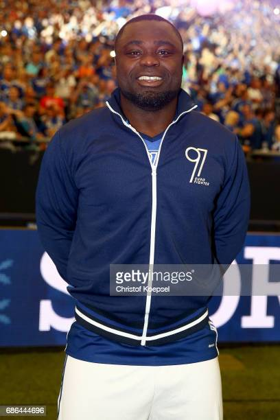 Gerald Asamoah of Eurofighter and Friends is seen prior to the 20 years of Eurofighter match between Eurofighter and Friends and Euro All Stars at...