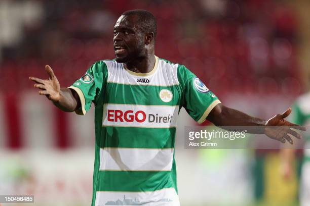 Gerald Asamoah of Greuther Fuerth reacts during the first round match of the DFB Cup between Offenbacher Kickers and Greuther Fürth at...
