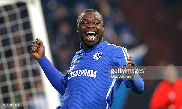 Gerald Asamoah of S04 All Stars team celebrates scoring a goal during Gerald Asamoah's Farewell Match at VeltinsArena on November 14 2015 in...