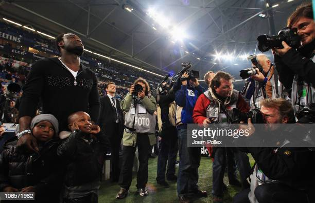 Gerald Asamoah of St Pauli is honored prior to the Bundesliga match between FC Schalke 04 and FC St Pauli at Veltins Arena on November 5 2010 in...