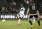 Gerald Asamoah passes the ball during the Florida Cup AllStar game at the ESPN Wide World of Sports Complex in Orlando Florida on January 16 2016...