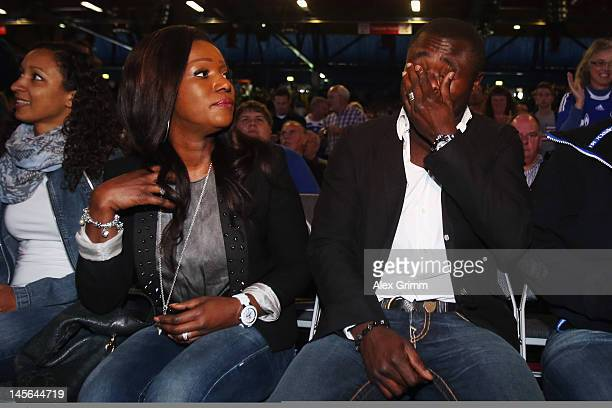 Gerald Asamoah reacts before being awarded member of the Schalke 'Hall of fame' during the annual meeting of FC Schalke 04 at Emscher Lippe Halle on...