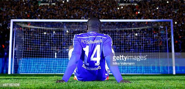 Gerald Asamoah will be honored bay the fans after the Gerald Asamoah's Farewell Match at VeltinsArena on November 14 2015 in Gelsenkirchen Germany