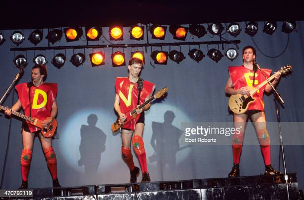 Gerald Casale Bob Mothersbaugh Bob Casale performing with DEVO at Asbury Park in New Jersey on July 19 1980