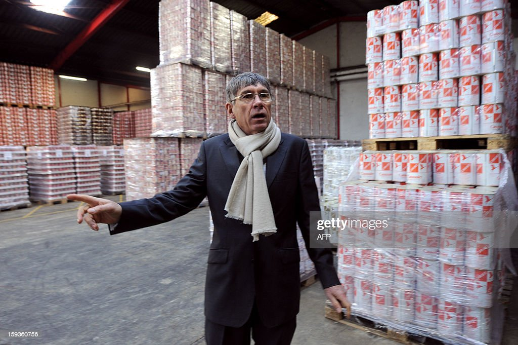 Gerald Christ, President of Christ SAS is pictured in a warehouse at the sauerkraut factory of Charles Christ, a French firm specialized in canned cooked dishes and condiments, on January 11, 2013 at Connerre, western France.