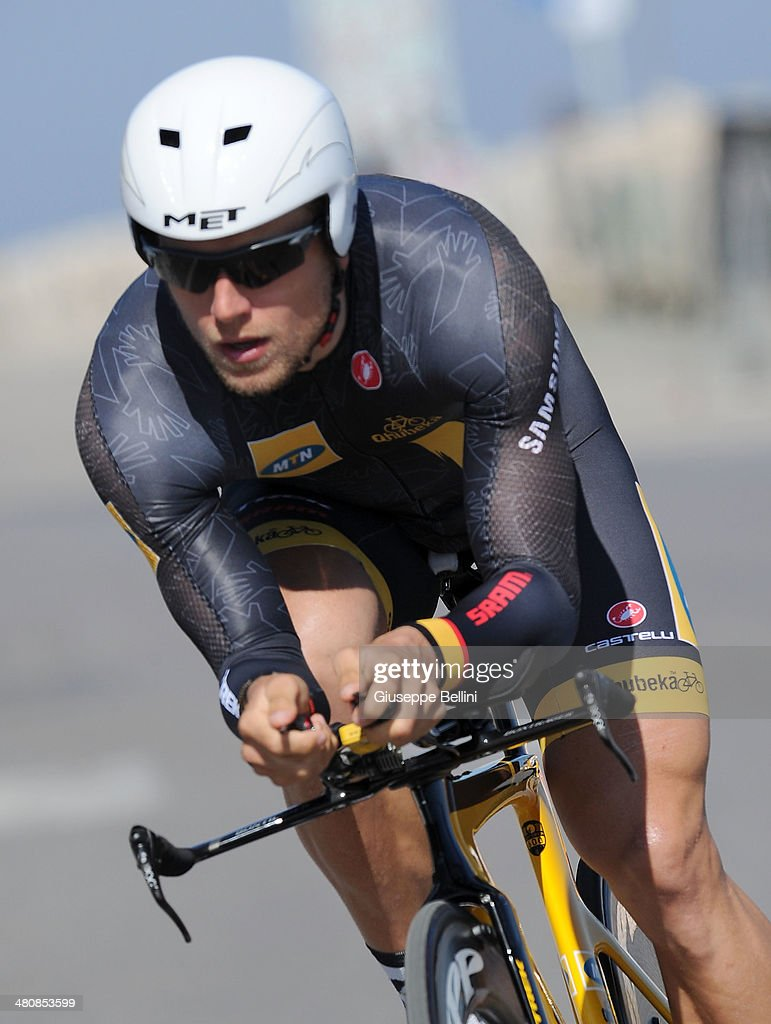 <a gi-track='captionPersonalityLinkClicked' href=/galleries/search?phrase=Gerald+Ciolek&family=editorial&specificpeople=658602 ng-click='$event.stopPropagation()'>Gerald Ciolek</a> of MTN-Qhubeka in action during stage seven of the 2014 Tirreno Adriatico, a 9.1 km individual time trial stage on March 18, 2014 in San Benedetto del Tronto, Italy.