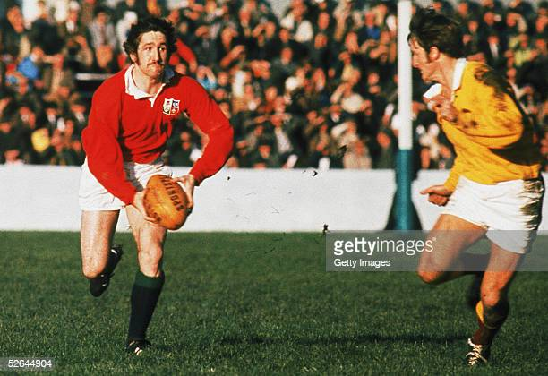 Gerald Davies of the British Lions in action during the British Lions Tour to New Zealand in 1971