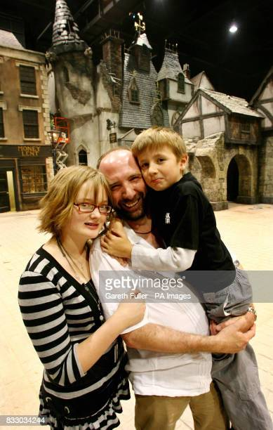 Gerald Dickens the great great grandson of Charles Dickens with his children Jasmine and Cameron at the media preview day of Dickens World at Chatham...
