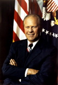 Gerald Ford 38th President of the United States 19741977 Became President on resignation of Richard Nixon Headandshoulders portrait with...