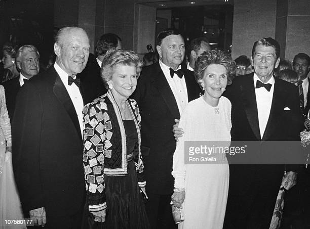 Gerald Ford and Nancy Reagan and Ronald Reagan during 1982 Carousel of Hope Ball