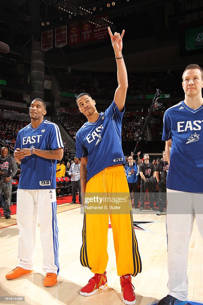 <a gi-track='captionPersonalityLinkClicked' href=/galleries/search?phrase=Gerald+Green&family=editorial&specificpeople=644655 ng-click='$event.stopPropagation()'>Gerald Green</a> of Team East before State Farm All-Star Saturday Night of the 2013 NBA All-Star Weekend on February 16, 2013 at the Toyota Center in Houston, Texas.
