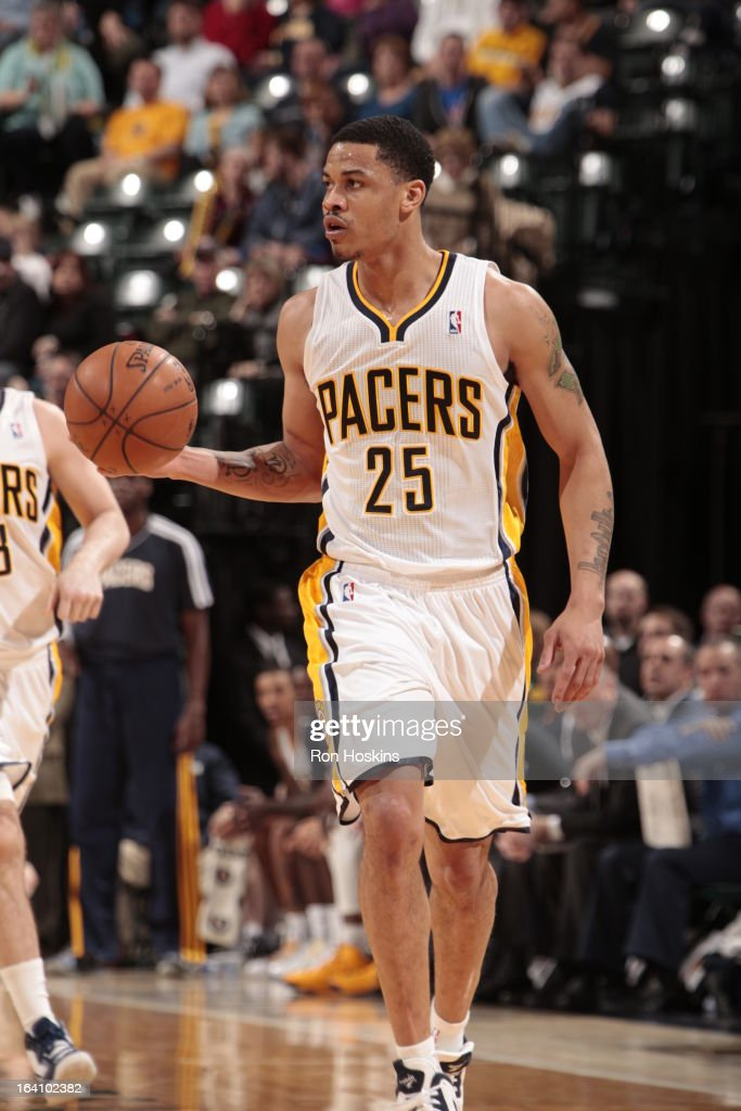 <a gi-track='captionPersonalityLinkClicked' href=/galleries/search?phrase=Gerald+Green&family=editorial&specificpeople=644655 ng-click='$event.stopPropagation()'>Gerald Green</a> #25 of the Indiana Pacers dribbles the ball up the floor against the Orlando Magic on March 19, 2013 at Bankers Life Fieldhouse in Indianapolis, Indiana.