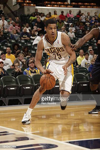 Gerald Green of the Indiana Pacers drives to the basket against the Atlanta Hawks on October 16 2012 at Bankers Life Fieldhouse in Indianapolis...
