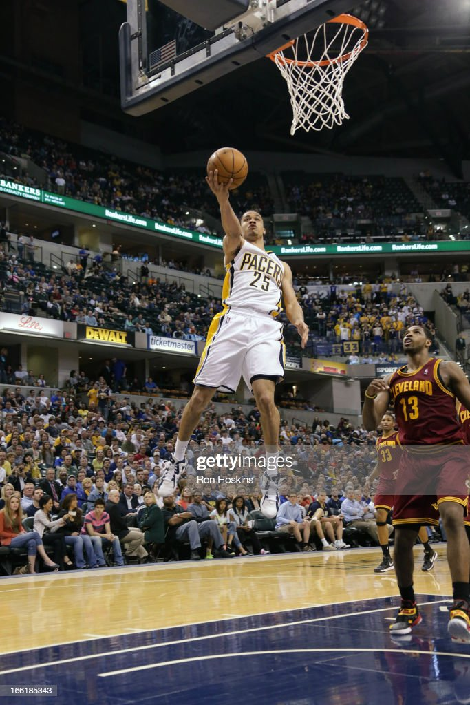 <a gi-track='captionPersonalityLinkClicked' href=/galleries/search?phrase=Gerald+Green&family=editorial&specificpeople=644655 ng-click='$event.stopPropagation()'>Gerald Green</a> #25 of the Indiana Pacers drives to the hoop against the Cleveland Cavaliers on April 8, 2013 at Bankers Life Fieldhouse in Indianapolis, Indiana.