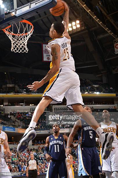 Gerald Green of the Indiana Pacers dunks against the Memphis Grizzlies on October 20 2012 at Bankers Life Fieldhouse in Indianapolis Indiana NOTE TO...