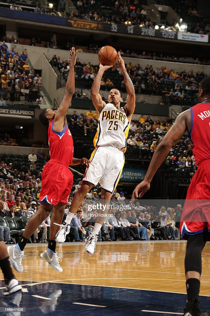 Gerald Green #25 of the Indiana Pacers goes for a jump shot during the game between the Indiana Pacers and the Philadelphia 76ers on April 17, 2013 at Bankers Life Fieldhouse in Indianapolis, Indiana.