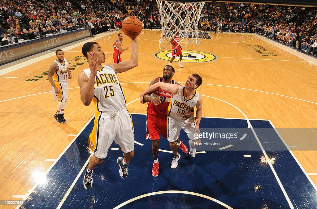 <a gi-track='captionPersonalityLinkClicked' href=/galleries/search?phrase=Gerald+Green&family=editorial&specificpeople=644655 ng-click='$event.stopPropagation()'>Gerald Green</a> #25 of the Indiana Pacers goes to the basket during the game between the Indiana Pacers and the Washington Wizards on November 10, 2012 at Bankers Life Fieldhouse in Indianapolis, Indiana.