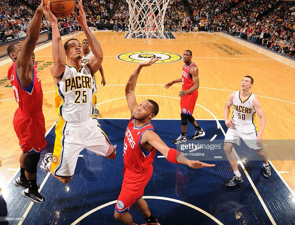 Gerald Green #25 of the Indiana Pacers goes to the basket during the game between the Indiana Pacers and the Philadelphia 76ers on April 17, 2013 at Bankers Life Fieldhouse in Indianapolis, Indiana.