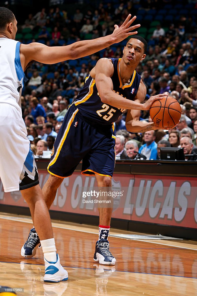 Gerald Green #25 of the Indiana Pacers looks to pass the ball against the Minnesota Timberwolves on November 9, 2012 at Target Center in Minneapolis, Minnesota.
