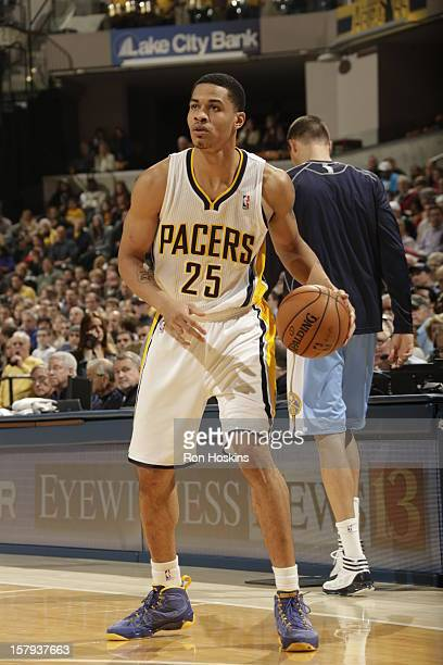 Gerald Green of the Indiana Pacers looks to pass the ball against the Denver Nuggets on December 7 2012 at Bankers Life Fieldhouse in Indianapolis...