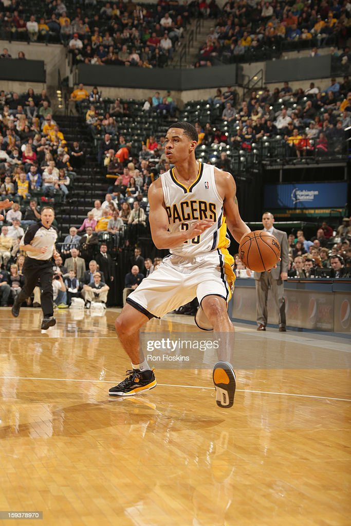 Gerald Green #25 of the Indiana Pacers protects the ball during the game between the Indiana Pacers and the Charlotte Bobcats on January 12, 2013 at Bankers Life Fieldhouse in Indianapolis, Indiana.
