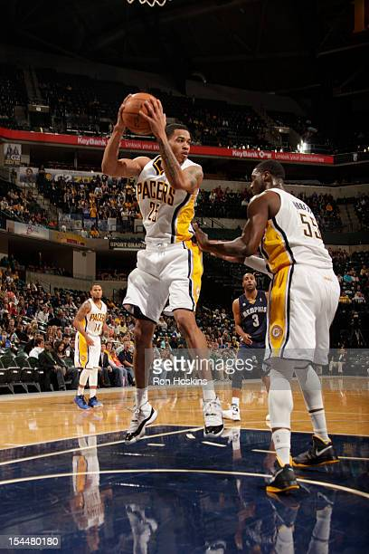 Gerald Green of the Indiana Pacers rebounds against the Memphis Grizzlies on October 20 2012 at Bankers Life Fieldhouse in Indianapolis Indiana NOTE...