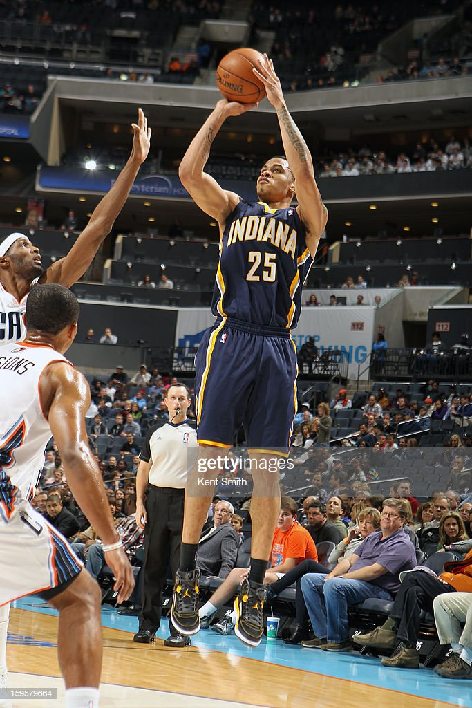 <a gi-track='captionPersonalityLinkClicked' href=/galleries/search?phrase=Gerald+Green&family=editorial&specificpeople=644655 ng-click='$event.stopPropagation()'>Gerald Green</a> #25 of the Indiana Pacers takes a shot against the Charlotte Bobcats at the Time Warner Cable Arena on January 15, 2013 in Charlotte, North Carolina.