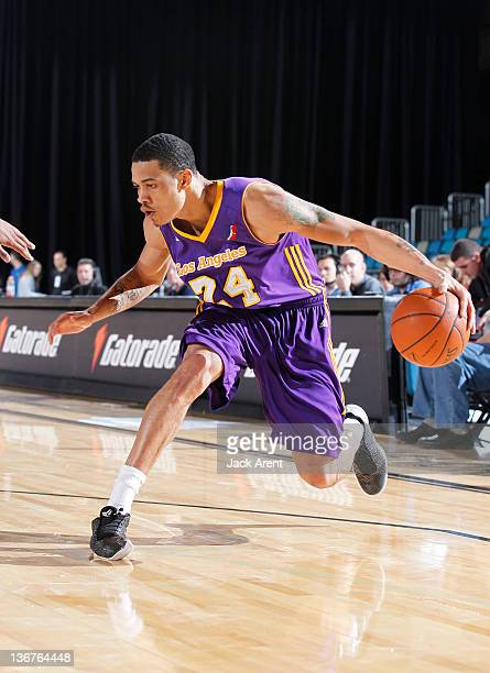 Gerald Green of the Los Angeles Defenders dribbles the ball against the Maine Red Claws during the 2012 NBA DLeague Showcase on January 11 2012 at...