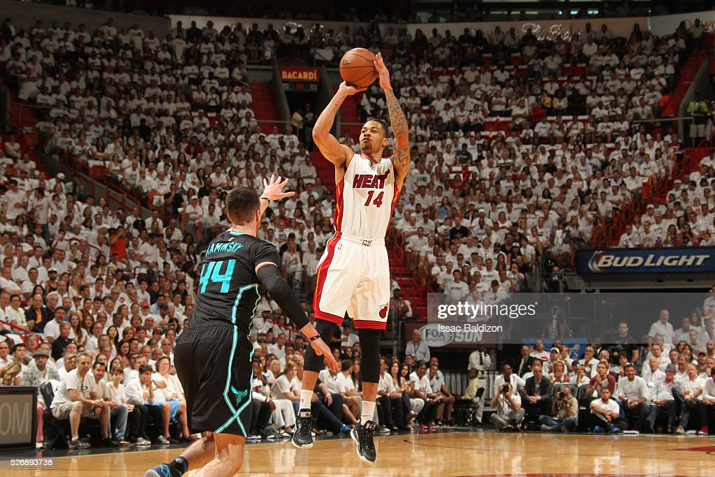 Gerald Green #14 of the Miami Heat shoots the ball against the Charlotte Hornets in Game Seven of the Eastern Conference Quarterfinals during the 2016 NBA Playoffs on May 1, 2016 at American Airlines Arena in Miami, Florida.