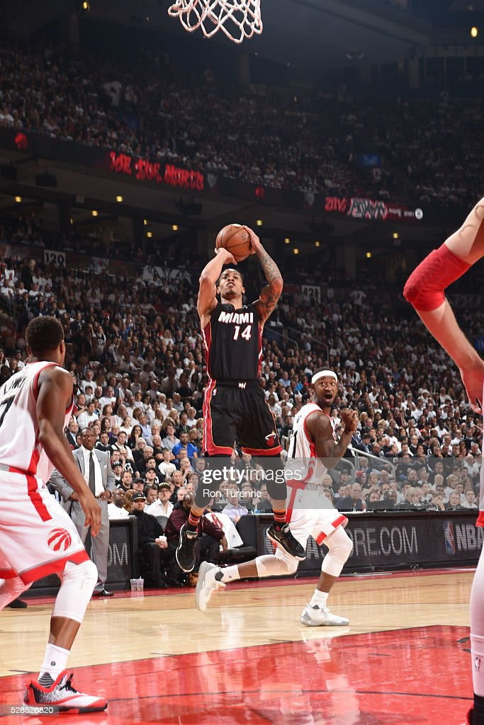 <a gi-track='captionPersonalityLinkClicked' href=/galleries/search?phrase=Gerald+Green&family=editorial&specificpeople=644655 ng-click='$event.stopPropagation()'>Gerald Green</a> #14 of the Miami Heat shoots the ball against the Toronto Raptors in Game Two of the Eastern Conference Semifinals on May 5, 2016 at the Air Canada Centre in Toronto, Ontario, Canada.