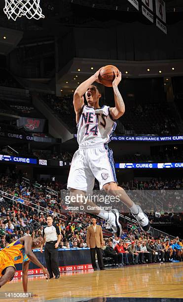 Gerald Green of the New Jersey Nets goes to the basket against the New Orleans Hornets during the game on March 17 2012 at the Prudential Center in...