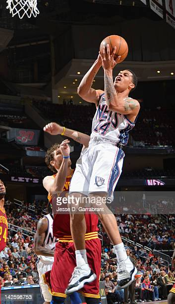 Gerald Green of the New Jersey Nets goes to the basket during the game against the Cleveland Cavaliers on April 8 2012 at the Prudential Center in...